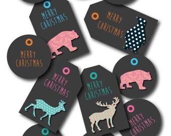 Christmas gift tags merry christmas animals