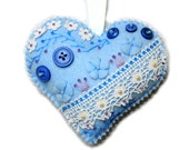 """Valentine's Day Ornament """"Blue Heart"""" made out of felt . Decorated with beads, buttons and lace. Quilt heart cushion"""