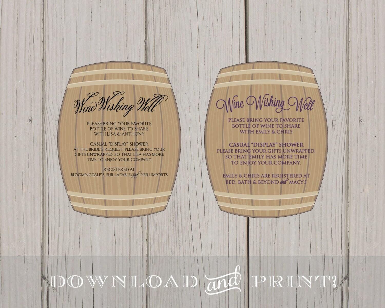 DIY Wine Wishing Well Bridal Shower Printable Insert Card