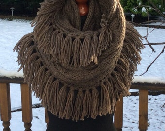 Infinity Brown Fringed Scarf