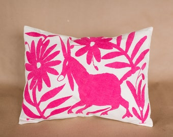 fuschia pink otomi embroidered pillow cover