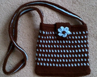 Crochet Brown/Blue Dotted Purse ~ girl ~ accessories
