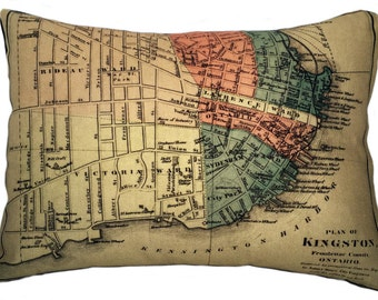 City of Kingston Vintage Map Pillow - FREE SHIPPING