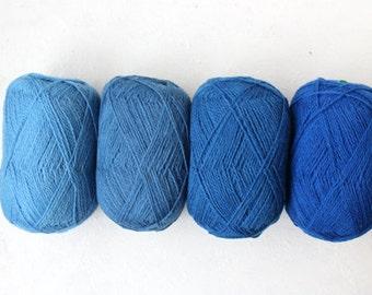Wool yarn set for knitting, crochet-100% blue wool yarn