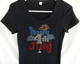 Rhinestone Happy 4th Of July T-Shirt, Comes With A Removable USA Charm Or Choose A Charm From The 2nd Picture. 4th Of July Apparel