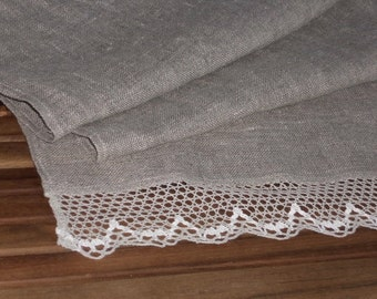 Linen table runner with lace natural gray runner rough rustic burlap runner in vintage style