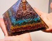 ORGONE 7 CHAKRA Layered  PYRAMID Giant Sized 5 3/8 Inches! w Large Lemurian Crystal Point!