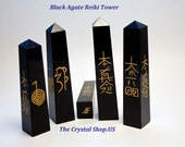 Reiki Symbols Black Agate Crystal Healing Wand with 4 Reiki Symbols etched in Gold