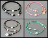 Adjustable PEARL Choker - Large 10mm Round Freshwater Pearl On Faux Suede Leather w/ Stamping Coin - Lariat Closure - MORE COLORS - Usa 006