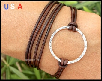 INFINITY Leather WRAP Bracelet - Boho Triple Wrapped Silver Eternity Hammered Circle Charm - ADJUSTABLE Natural Real Leather Bracelets - 710
