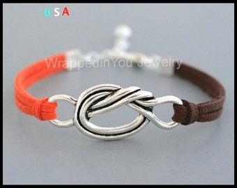 INFINITY Knot Charm Bracelet - Silver Knot Charm on Microfiber Faux Suede Stacking Bracelet - Pick SIZE / COLOR - Made in Usa