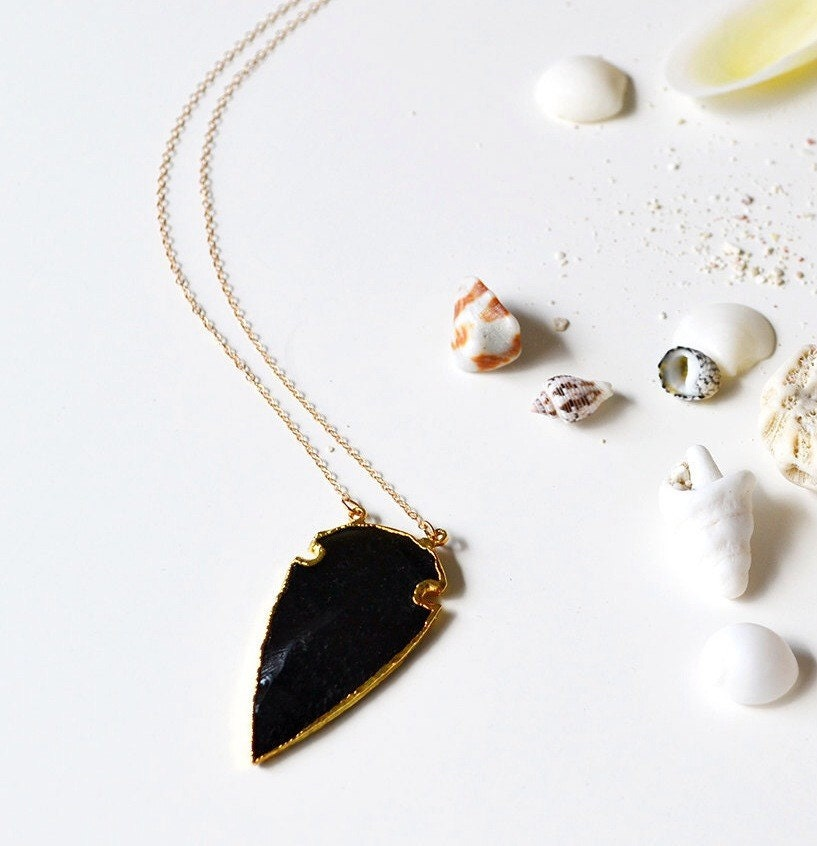 black obsidian arrowhead necklace the by laloreley on etsy