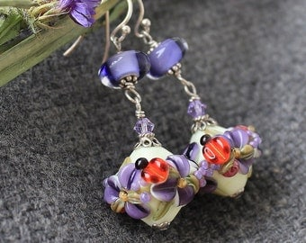 Glass Lampwork Earrings,Lampwork Flower Earrings,Floral Lampwork Earrings,Floral Glass Earrings,Glass Earrings,Flower Earrings,Earrings