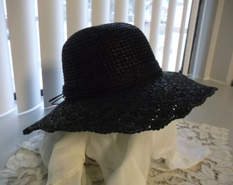 Ladies Capelli Black Wide Brimmed Hat