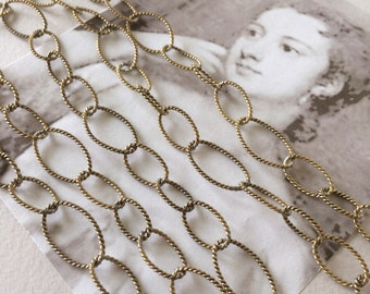 Vintage Twist Chain, Brass Rope Chain, Heavy Oval Link Chain, 10mm, 2Ft