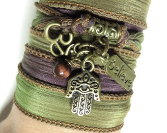 Om Silk Wrap Bracelet Hamsa Yoga Bracelet Zen Namaste Jewelry Bohemian Spiritual Jewelry Wrap Ribbon Bracelet Uniqoue Birthday Gift For Her