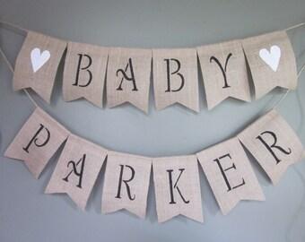 Baby Name Burlap Banner - Custom Order Baby Name Bunting- Rustic Burlap Photo Prop Garland - Baby Shower Name Banner - Nursery Decor Bunting