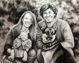 Custom Portrait Drawing in Charcoal