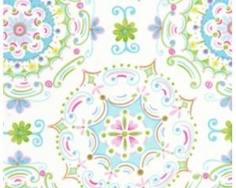 1 yard Dream Right in White- Dena Designs Tea Garden Fabric