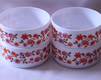 A Set of Four Retro French Arcopal Scania Small Bowls 1970's Vintage