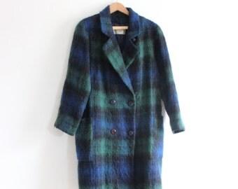Long Plaid Mohair Wool 60s Coat