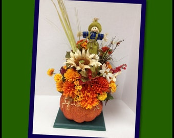 Fall Pumpkin Silk Flower Arrangement