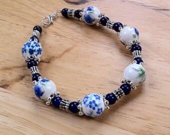 Lapis Lazuli and Japanese Ceramic Bead Bracelet