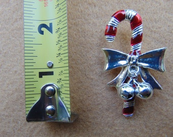Vintage Holiday Candy Cane Brooch with Bells