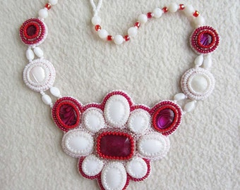 Ruby Paua shell Mountain Jade bead embroidery necklace     EGEB