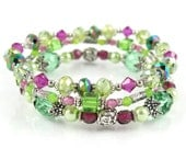 Fuchsia and Peridot Stackable Stretch Bracelets - Set of Three Stretch Bracelets Hot Pink and Lime Green