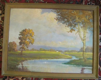 Original Portland Oregon Oil Painting by Clyde Leon Keller October Afternoon at Sauvies Island