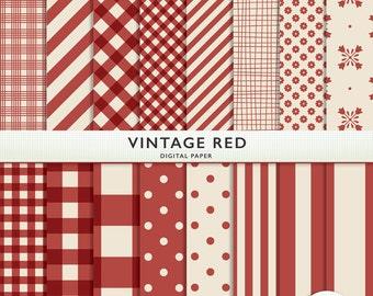 Digital Paper - Vintage Red - Gingham Polka Dots Floral Card Making  Personal  Commercial  Instant Download & Printable G7354