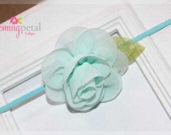 Aqua Chiffon Leaf Flower Skinny Elastic Newborn/Toddler Headband