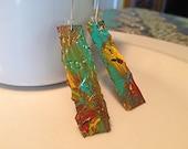 hand painted reversible credit card hoop earrings