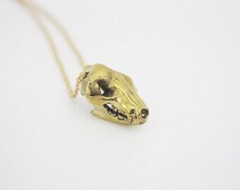 Golden Coyote Head Skull Pendant / Brass Metal Work Wolf Skull Necklace