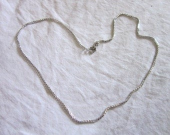 Vintage Designer Monet Silver Tone Box Chain Necklace Very Nice 18 inch