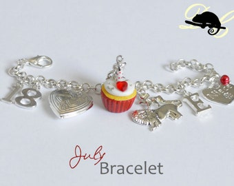Your JULY Birthday Bracelet - Cupcake with candle, birthstone,letter,locket, and zodiac charm - Personalised (In Stock)