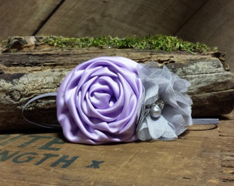 Couture Lavender and Grey headband with beading, photo prop, Newborn, toddler, adult