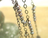 Long Pearl Necklace. Pearl Chain, Black Pearl Necklace, Stacked Pearls. Black Pearls FREE SHIPPING