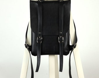 Black leather backpack rucksack / To order / Black Leather Backpack / Leather Backpack / Leather rucksack / Womens backpack /