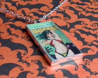 Vampirella Necklace - Silver Pendant with Chain - Comic Book Vampire Slayer - Horror Comics