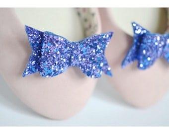 Royal Blue Glitter Bow Shoe Slips, Blue Glitter Bow Shoe Clips, Blue Glitter Wedding Shoeclips, Something Blue, Blue Flowergirl Shoes