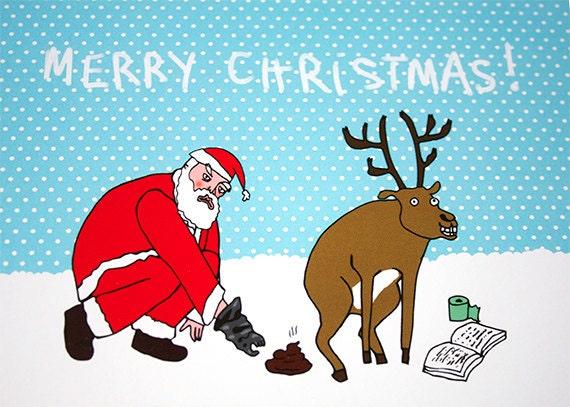Funny Christmas Card - Funny Card - Xmas Card - Adult - Reindeer Poo - Rude Christmas Card - SANTA's POO BAGS
