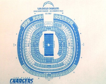 NFL San Diego Chargers Qualcomm Stadium Blueprint