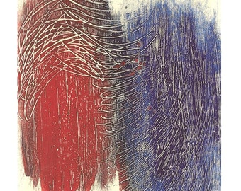 Red and Blue, Giclee Print of Original Artwork, Wall Art, Home Decor, Office Decor.