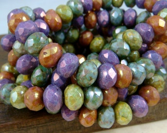 Czech Beads, 6x8mm Rondelle, Czech Glass Beads - Multi Color Assortment Glass Beads (R8/N-0573) - Qty 16 (4 of each color)