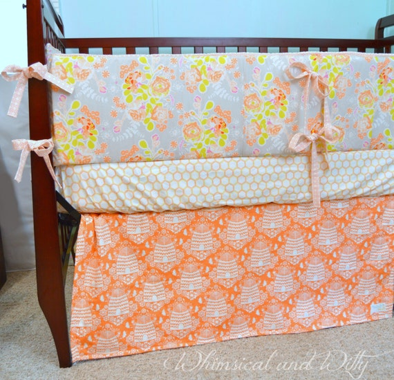 items similar to bee sweet baby crib bedding peach and gray floral bee bedding on etsy. Black Bedroom Furniture Sets. Home Design Ideas