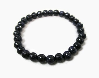 Blue Goldstone 6mm Stretch Bead Bracelet, Gemstone Stretch Bracelet, Stackable Beaded Bracelets