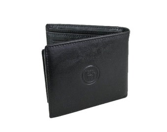 Mens Classic Wallet Medium Black Brown Genuine Leather Trifold (219)