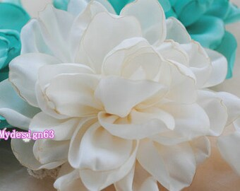 Larger Handmade Singed Flower  (3.5 inches) In Cream MY-400-01 Ready To Ship